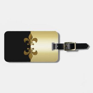Monograma de encargo de oro del negro de oro de la etiqueta de equipaje