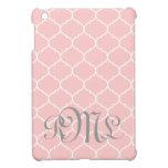 Monograma de encargo de Quatrefoil en rosa y gris iPad Mini Protector