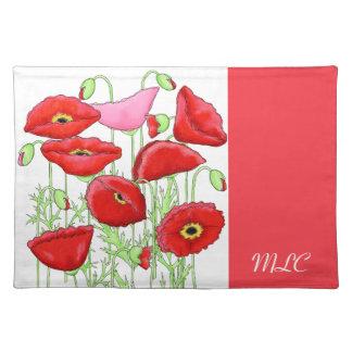 Monograma de encargo del arte rosado rojo de las mantel individual
