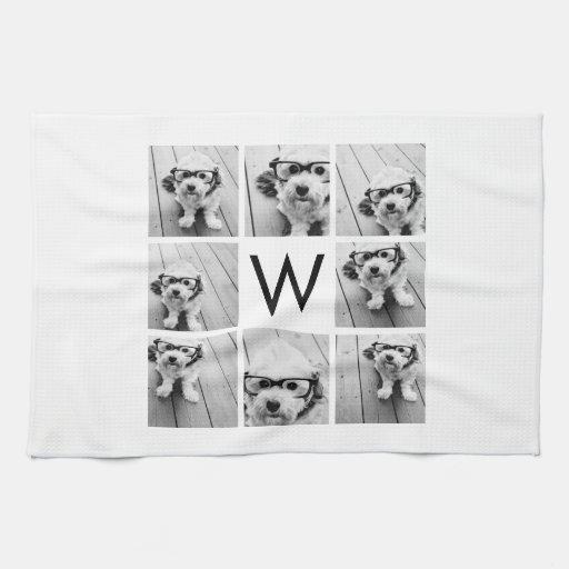 Monograma de encargo del collage de 8 fotos blanco toalla