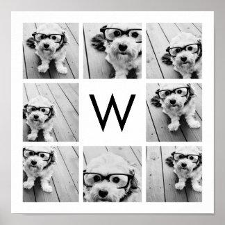 Monograma de encargo del collage de 8 fotos blanco posters