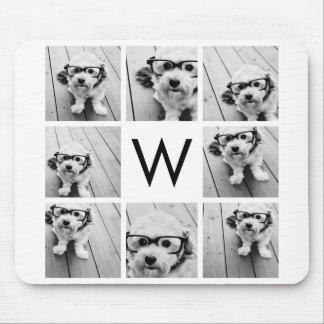 Monograma de encargo del collage de 8 fotos blanco tapete de ratones