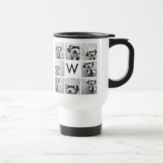 Monograma de encargo del collage de 8 fotos blanco taza de viaje de acero inoxidable