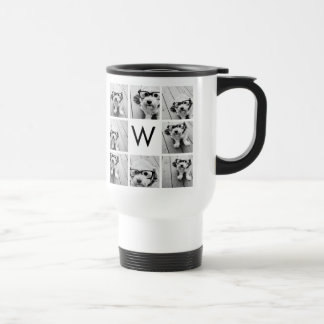 Monograma de encargo del collage de 8 fotos blanco taza térmica