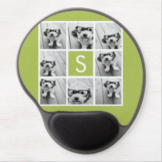 Monograma de encargo del collage de la foto - verd alfombrillas de ratón con gel