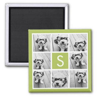 Monograma de encargo del collage de la foto - verd imán cuadrado