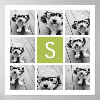 Monograma de encargo del collage de la foto - verd póster