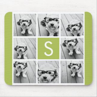 Monograma de encargo del collage de la foto - verd alfombrilla de raton