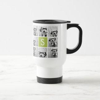 Monograma de encargo del collage de la foto - verd tazas de café