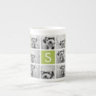 Monograma de encargo del collage de la foto - verd taza de porcelana