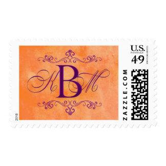 Monograma de encargo del naranja y de la púrpura timbre postal