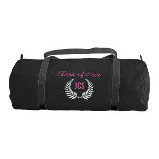 Monograma de encargo del rosa del negro de la bolsa de deporte