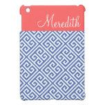 Monograma de encargo dominante griego azul y coral iPad mini funda