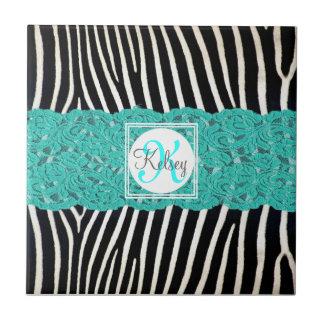Monograma de encargo en cordón de la cebra y de la azulejo cuadrado pequeño