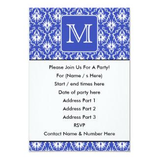Monograma de encargo, en modelo azul y blanco del invitación 8,9 x 12,7 cm