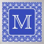 Monograma de encargo, en modelo azul y blanco del  impresiones