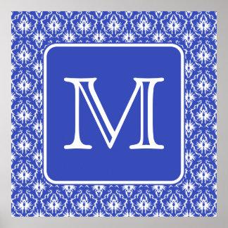 Monograma de encargo, en modelo azul y blanco del  póster
