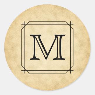 Monograma de encargo en modelo del estilo del pegatina redonda
