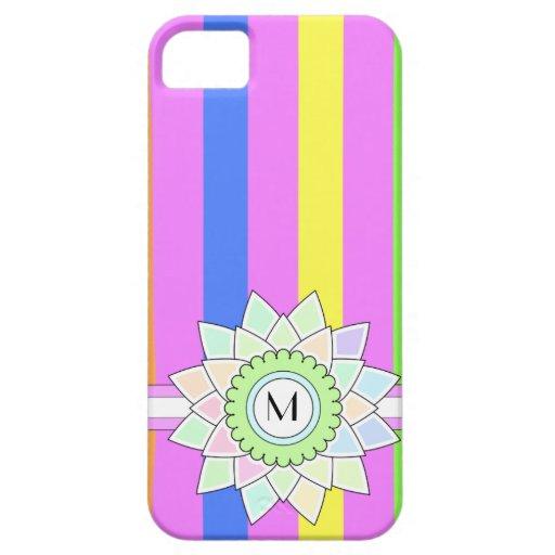 Monograma de encargo, flor multicolora y rayas 9 iPhone 5 Case-Mate protector