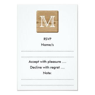 Monograma de encargo. Imagen de la madera marrón Invitación 8,9 X 12,7 Cm