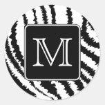 Monograma de encargo, impresión animal del modelo etiquetas redondas