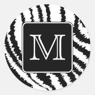 Monograma de encargo, impresión animal del modelo pegatina redonda