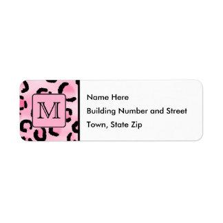 Monograma de encargo. Impresión negra y rosada del Etiqueta De Remite