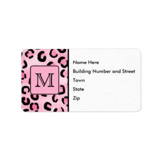 Monograma de encargo. Impresión negra y rosada del Etiquetas De Dirección