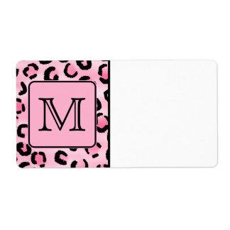 Monograma de encargo. Impresión negra y rosada del Etiquetas De Envío