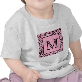 Monograma de encargo. Impresión negra y rosada del Camisetas