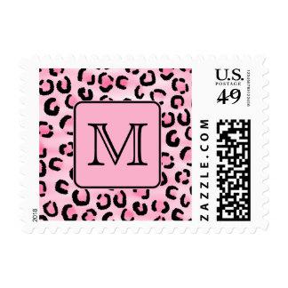 Monograma de encargo. Impresión negra y rosada del Sellos Postales