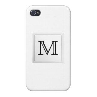Monograma de encargo impreso Blanco y negro iPhone 4/4S Fundas