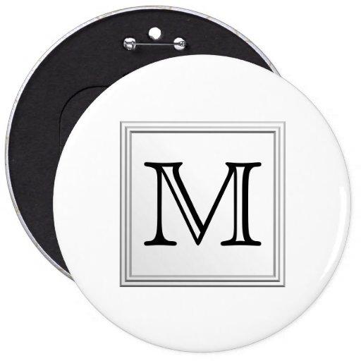 Monograma de encargo impreso. Blanco y negro. Pin