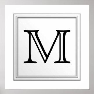 Monograma de encargo impreso. Blanco y negro. Póster
