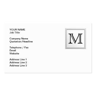 Monograma de encargo impreso. Blanco y negro. Tarjetas De Visita