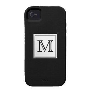 Monograma de encargo impreso Gris negro y pálido Case-Mate iPhone 4 Carcasa