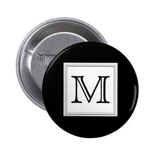 Monograma de encargo impreso. Gris negro y pálido Pin Redondo 5 Cm