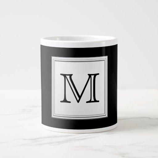 Monograma de encargo impreso. Gris negro y pálido Tazas Jumbo