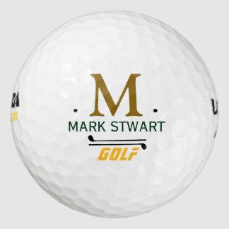 monograma de encargo inicial/conocido del pack de pelotas de golf