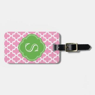 Monograma de encargo marroquí moderno del rosa y etiquetas de equipaje
