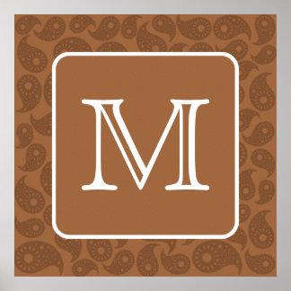 Monograma de encargo. Modelo de Brown oscuro Paisl Póster
