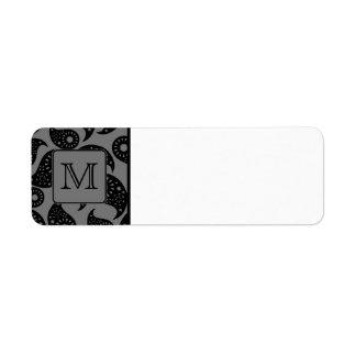 Monograma de encargo. Modelo gris y negro de Paisl Etiquetas De Remite