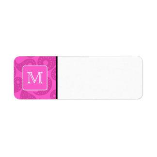Monograma de encargo. Modelo rosado brillante de P Etiqueta De Remitente
