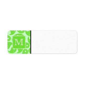 Monograma de encargo Modelo verde claro de Paisle Etiquetas De Remite
