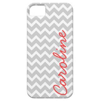 Monograma de encargo personalizado Chevron gris iPhone 5 Case-Mate Carcasa
