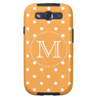 Monograma de encargo Punto de polca anaranjado y Samsung Galaxy S3 Protectores
