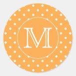 Monograma de encargo. Punto de polca anaranjado y Pegatinas Redondas