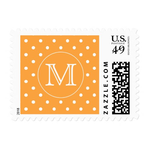 Monograma de encargo. Punto de polca anaranjado y Timbres Postales