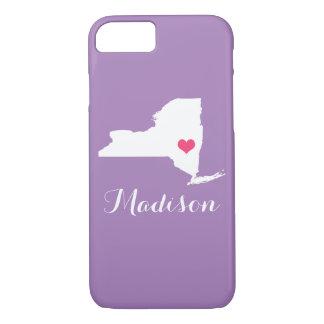 Monograma de encargo púrpura de la lila del funda iPhone 7
