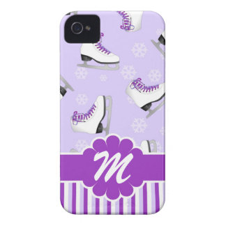 Monograma de encargo púrpura y blanco del patinaje iPhone 4 Case-Mate carcasas